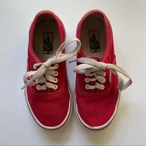 Vans Red Lace Up Sneakers Shoes Size 12 Kids